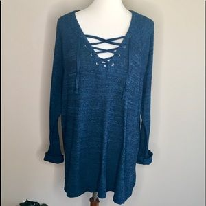 Lane Bryant Teal Blue Lace Up Tunic Sweater Sz 18